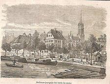 MULHOUSE VUE PENICHES GRAVURE ILLUSTRATION 1864
