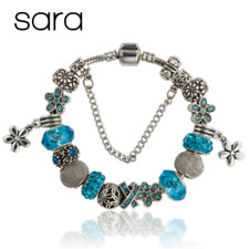 Sara Charm Bracelet Silver Plated European Glass Beads Floral Charms - Blue