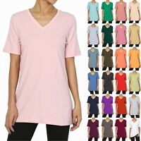 TheMogan S~3X Basic Cotton Span V-Neck Relaxed Boyfriend T-Shirts Loose Tee