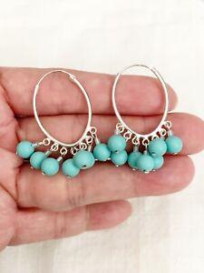 925 Sterling Silver Touquoise Bead Hoop Earring