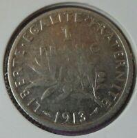 1 Franc Semeuse 1913 : B : pièce de monnaie Française ARGENT N23