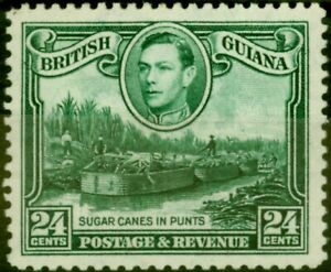 British Guiana 1938 24c Blue-Green SG312 Fine Mtd Mint