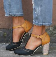 Womens Cut Out T-Bar Ankle Strap Sandals High Block Heels Casual Pumps Shoes New