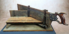 """Antique Langdon """"Improved"""" Miter Box #16 with Disston and Sons Backsaw 30"""" x 6"""""""