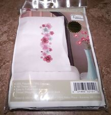 """Tobin Stamped Pillow Cases PINK PASSION Flowers  for Embroidery 20"""" x 30"""" 1 Pair"""
