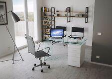 Tavolo scrivania vetro curvato ufficio B-DESK cassettiera 3 cassetti bianco