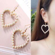 New Elegant Gold Pearls Heart Hook Drop Earrings Fashion Women Statement Jewelry