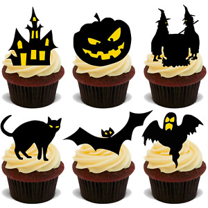 HALLOWEEN SILHOUETTE MIX PREMIUM 30X FLAT STAND UP Edible Cake Toppers D18