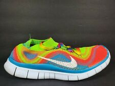 Nike Free Run Flyknit Mens Size 11 Shoes Electric Green Rainbow White 615805 316