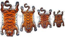 Wool Tibetan Tiger Rug Carpet Cutout pelt skin stripe orange Tibet Nepal