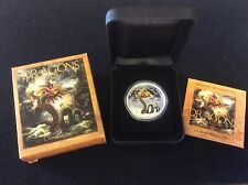 2012 tuvalu $1 dragons of legend, chinese dragon, proof silver coin
