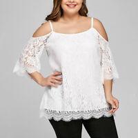 Women Baggy Cold Shoulder Holiday Plain Lace Blouse Cocktail Shirt Top Plus Size
