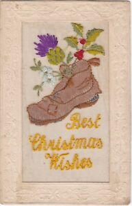 WWI era Best Christmas Wishes Boot SILK Postcard