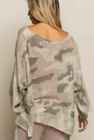 L NWT Boho Camouflage Camo Cozy Lounge Sweatshirt Sweater Women's Size LARGE