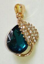 1 x Diamante Blue & Clear Teardrop And Leaf Pendant & Bail. Gold Colour Surround