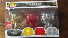 Funko Pop Heroes 3-pack The Flash (Gold/Red/Silver-Chrome) SDCC 2018 Exclusive