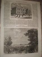 New public building at Penzance & Rio Grande Do Sul Brazil 1867 old prints