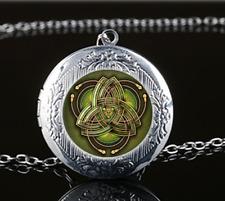 Celtic Triangle Photo Glass Tibet Silver Chain Locket Pendant Necklace#u10