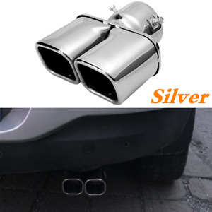 Car Rear Dual Exhaust Tip Pipe Tail Muffler Square Parts Stainless Steel Chrome