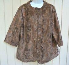 Kim Rogers 3/4 Sleeve Animal Print Fabric Zip Front Jacket Woman's 18W New $72