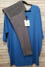 Agnes & Dora Outfit 2XL Dolman Tunic Azure Blue & XXL Charcoal Moto Jeggings NWT