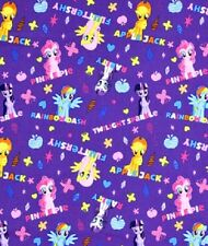 Fat Quarter My Little Pony Ponies and Names Hasbro Cotton Quilting Sewing Fabric
