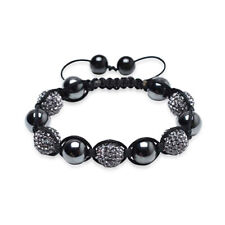 Black Hematite Pave Crystal Ball Shamballa Inspired Bracelet Black Cord String