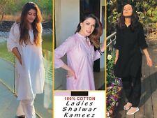 Stitched Womens Ladies Shalwar Kameez White Cotton Pakistani Indian kurta Salwar