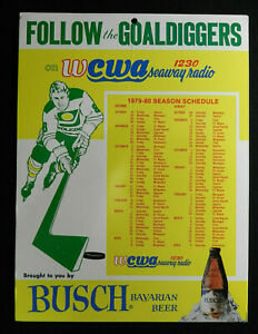 WCWA am 1230 toledo GOALDIGGERS busch BEER schedule 1979-80 bar SIGN seawayRADIO