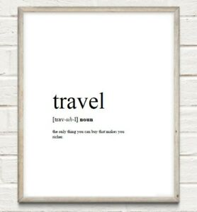 Travel Definition Typography Print Poster Wanderlust Unframed Home Quote