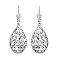 .925 Sterling Silver Double Layered Hearts Filigree Teardrop Drop Earrings Set