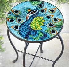 Peacock Small Metal Outdoor Side Table Round Glass Top Patio Deck Garden Peacock