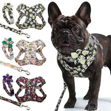 Floral Dog Harness Collar and Leash set Adjustable Puppy French Bulldog Walking