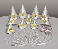 Silver New Year Party Kit for 10 People Hats Squawkers Necklaces Confetti