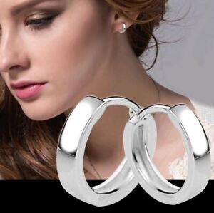 1 Paar 925 Sterling Silber beschichtet Klapp Creolen Rund Ohrringe Hochglanz
