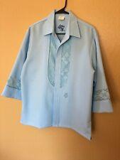 VTG Iolani Hawaii Beau Tiki M Blue Button Up Lace Trim 3/4 Sleeve Shirt Wedding