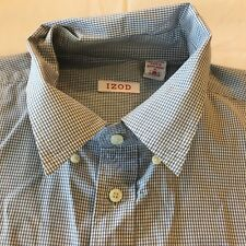 Izod Men Sz XL Button Up Dress Shirt Long Sleeve Royal Blue White Plaid Cotton