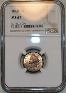 NGC MS-64 1860 Pointed Bust Indian Head Cent, Richly-hued & Razor-sharp!