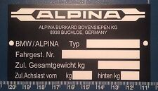 "Alpina ""BMW coches 'placa de chasis, etiqueta: 95 Mm x 50 mm"