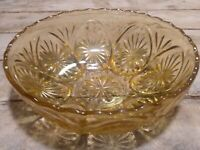 Vintage Pressed Glass Serving Bowl Dark Yellow Amber Star Flower Pattern