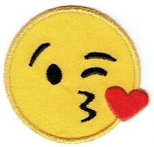 Iron On Embroidered Applique Patch - Smiley Face Emoji Blowing Kiss on Cheek