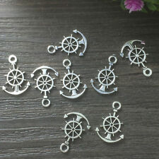 14pcs Steering wheel with anchor Tibetan Silver Bead charms pendant @
