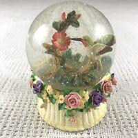 Musical Hummingbird Snow Globe Water Ball Floral Basket Vintage