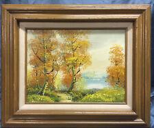 Vintage Original Artist Signed Autumn Landscape Trees Stream