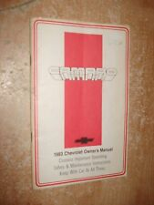 1983 CHEVY CAMARO OWNERS MANUAL ORIGINAL RARE GLOVE BOX BOOK IROC Z28 RS