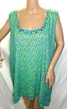 Ruby Rd. Women Size L Beaded Green Lined Mesh Lace Swing Tank Top Blouse Shirt
