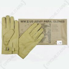 American Paratrooper Gloves - WW2 US Leather Cowhide Airborne Yellow Rigger New