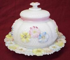 """Antique CONSOLIDATED LAMP & GLASS CO. """"COSMOS"""" Covered BUTTER DISH Milk Glass"""