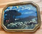 "Professional Framed Antique Litho Print Nightime Farm Sheep Herd 17.5""L x 13.5""H"