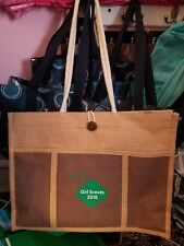 NEW Girl Scout Tote Bag Trefoil 3 Faces Canvas 2010 Rope Handle Pocket Closure